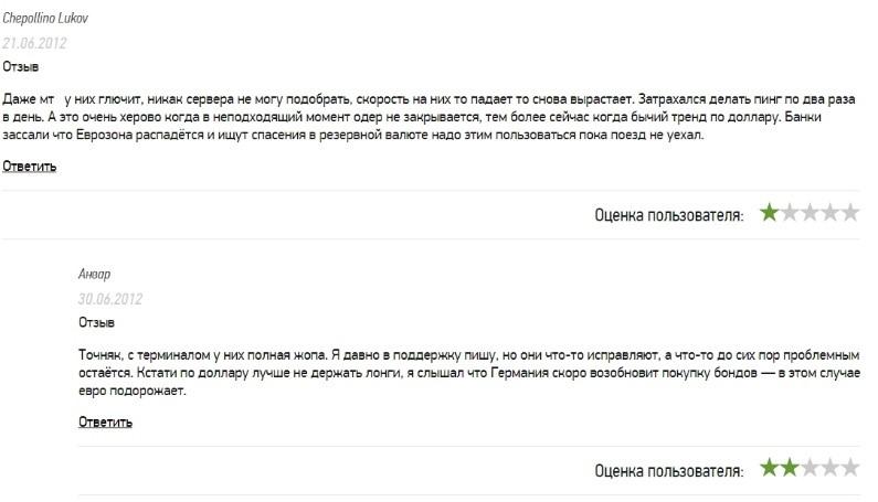 Отзывы некоторых пользователей о Метатрейдер 5